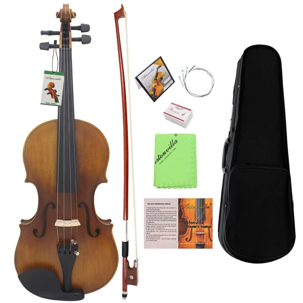Spruce Solid Wood 4/4 Violin 4-String Vintage Music Instrument With Storage Case For Both Beginners Professionals one 4 string 4 4 violin electric violin acoustic violin maple wood spruce wood big jack green color