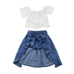 2018 mode Kinder Mädchen Sommer Kleidung schulterfrei Spitze Weiß Tops + Denim Shorts Rüschen Bogen Rock Outfit Kinder Kleidung Set