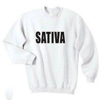 Sativa Weed Shirt Cannabis Marijuana Hipster Love Dope Swag High Tumblr Crewneck Sweatshirt Casual Tops Jumper