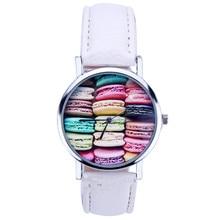 Macaron patterns Women Leather Analog Quartz Wrist Watch Brand New High Quality Luxury Free Shipping 0717