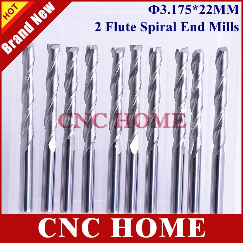 10pcs Carbide Endmill Double Flute Spiral CNC Router Bits woodworking 4mm ×22mm