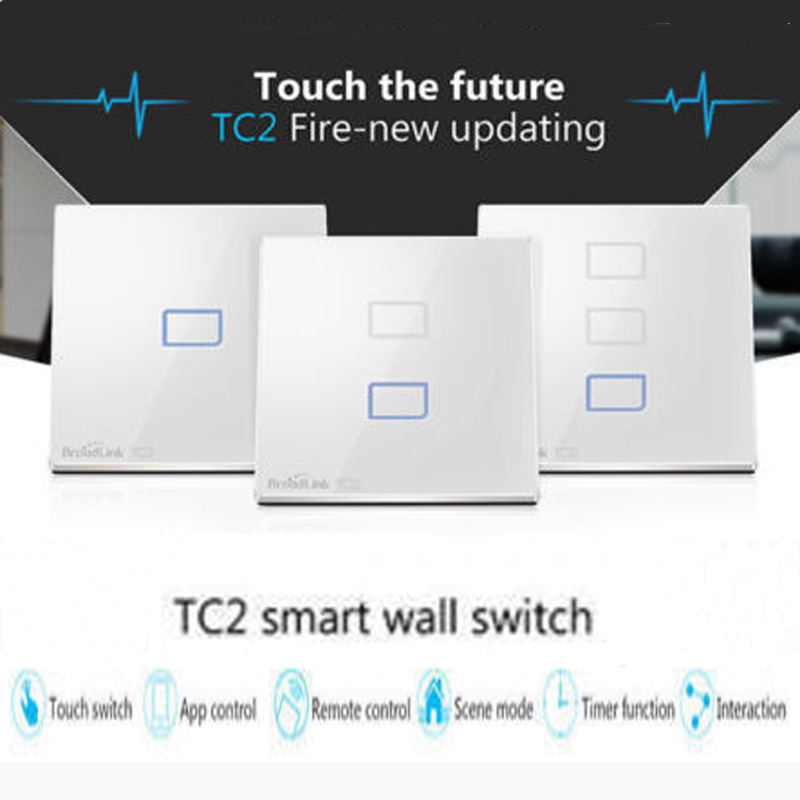 Broadlink UK Standard Wireleass Remote Control Switch, Wall Light Switch, Crystal Panel Touch Screen Switch For Smart Home 3gang1way uk wall light switches ac110v 250v touch remote switch