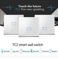 Broadlink UK Standard Wireleass Remote Control Switch, Wall Light Switch, Crystal Panel Touch Screen Switch For Smart Home