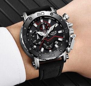 Image 5 - LIGE montre de luxe analogique en cuir pour homme, horloge à Quartz masculine de marque, sportive, style militaire, Date, 2019