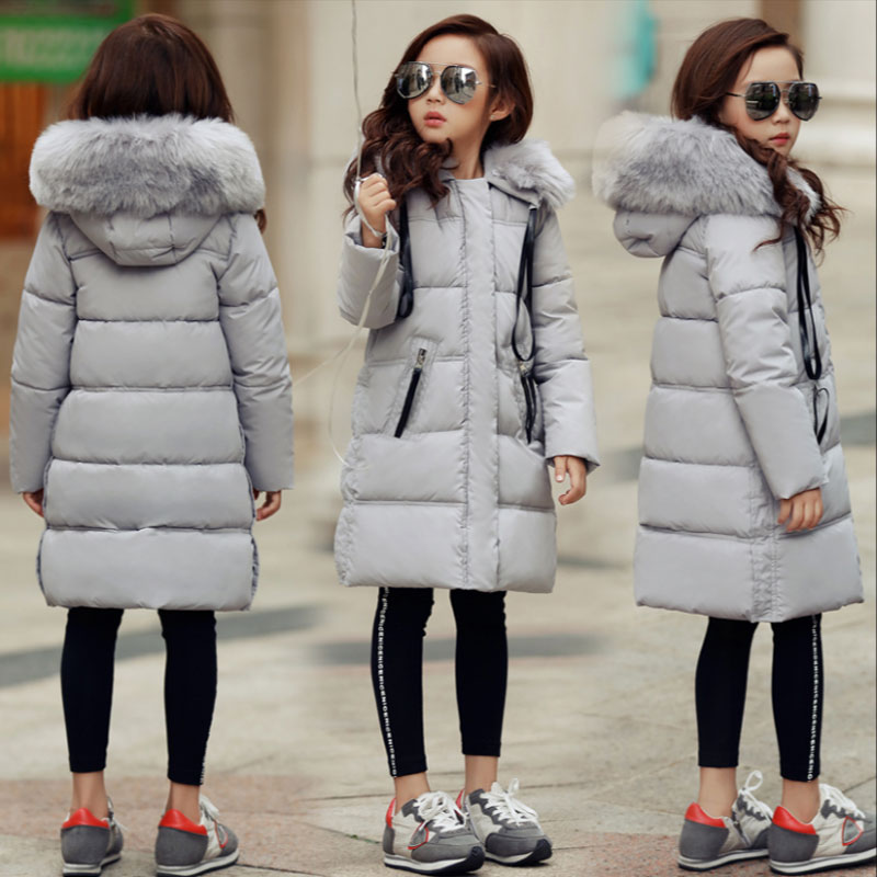 Winter girl kids clothes outfits thick fur collar cotton-padded coat outerwear for teenage girl children clothing jackets parkas children winter coats jacket baby boys warm outerwear thickening outdoors kids snow proof coat parkas cotton padded clothes