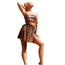 81bf5bdfec 2019 New Fashion Skirt Set Womens Sexy Beach Leopard Print Tube Split  Sequin Suit Tops+