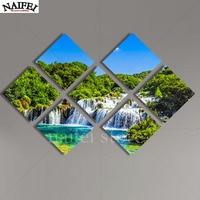 7 Pcs Diy Diamond Painting Handmade Cross Stitch Kit Waterfall Diamond Embroidery 3D Square Diamond Mosaic
