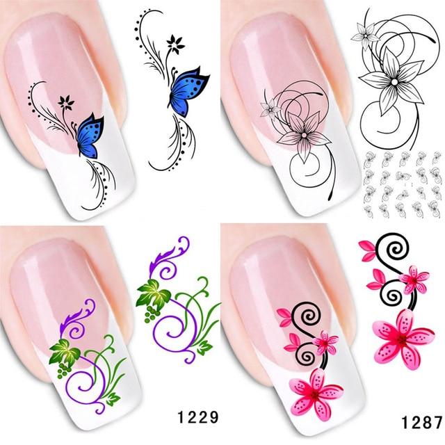 AddFavor 2PCS Butterfly Flower Nail Art Sticker Water Transfer Nail ...