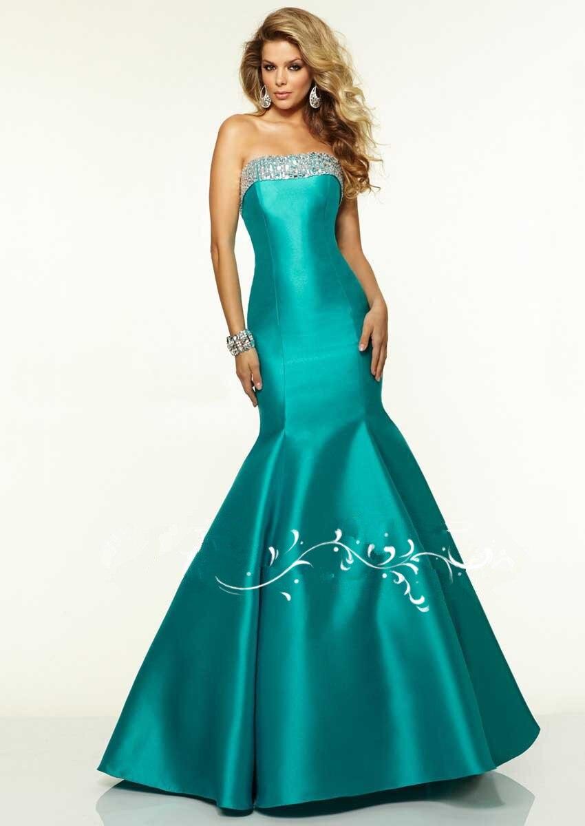 Elegant SF727 Boat Neckline Crystal Beading Satin Fabric   Prom     Dresses