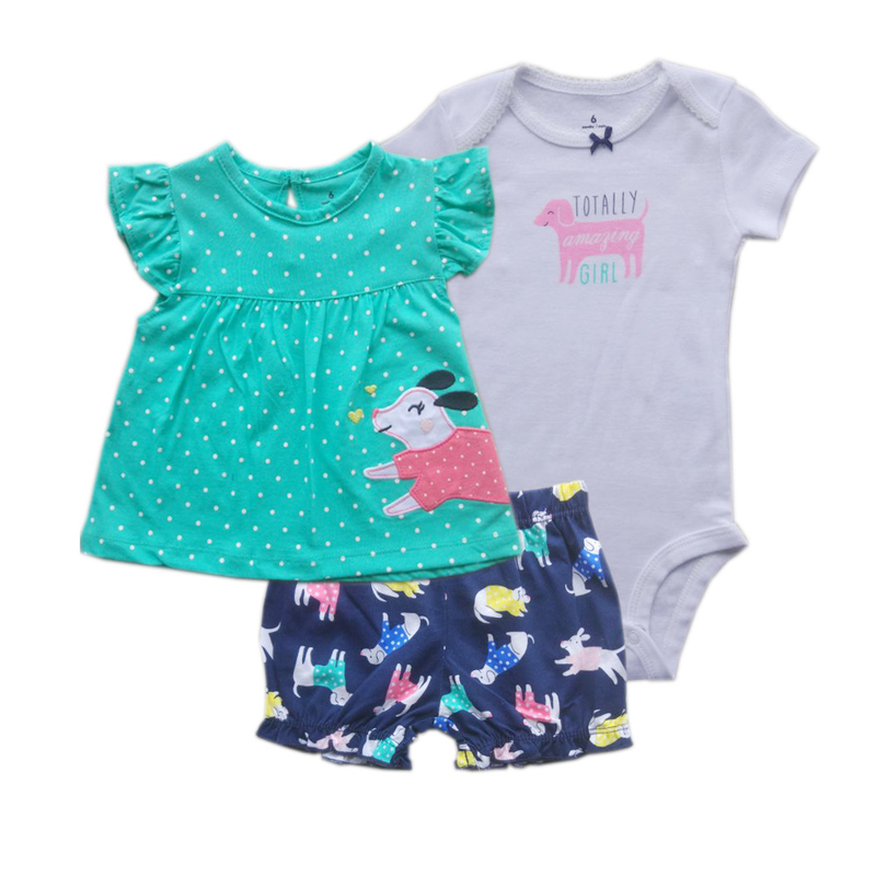 3pcs/set Top Quality Unisex Baby Clothes Kids Rompers Short Sleeve Cottom O-Neck Newborn Boys Girls Roupas De Bebe Baby Clothes