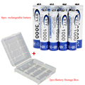 8 unids/lote nueva 1.2 v aa batería recargable aaa nimh 1.2 v recargable batteies + 2 unids batería caja de almacenamiento envío gratis