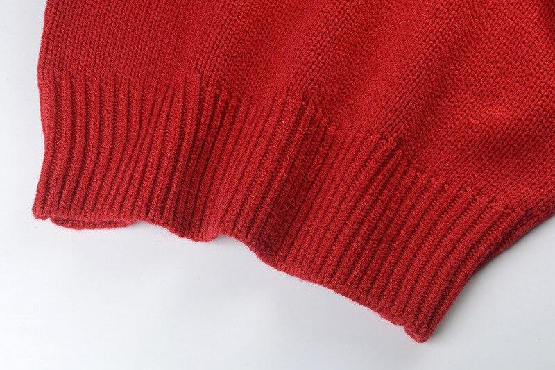 Femminile L'inverno 2018 Fuori E Moda A Scava Lavorato Rosso Maglione Autunno Maglia Di Pullover Stile Nuove Abiti Donne Spalla La w4qBUUR