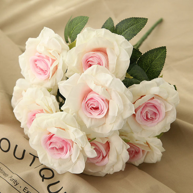 10 Head Artificial Silk French Rose Floral Bouquet Arrange Home Wedding Flowers Party Christmas New Year Decoration Fake Flower