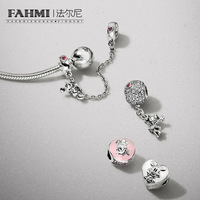 FAHMI 100% 925 Sterling Silver 1:1 Hot Air Balloon FLOATING CHARM VINTAGE CLIP CLIMBING SAFETY CHAIN MOMENTS Bracelet Gift Set