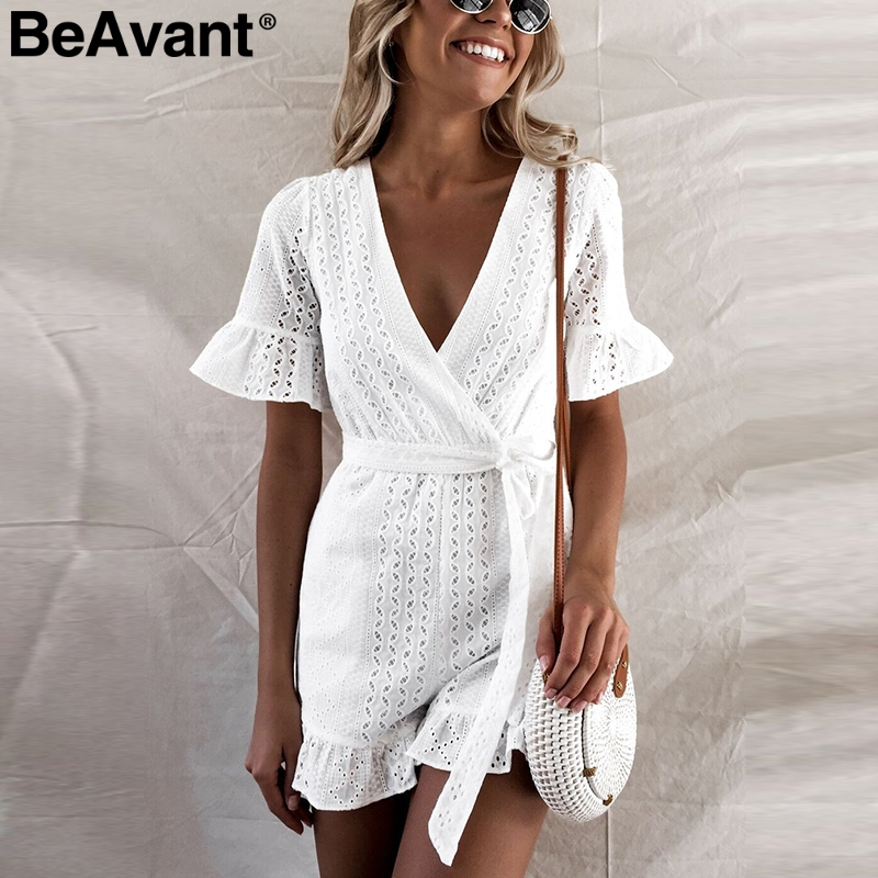 BeAvant Elegant ruffle white rompers womens jumpsuit Short sleeve high waist cotton summer jumpsuit Female sexy v neck playsuit