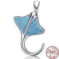 Aceworks مانتا راي اللادغة راي الأسماك 925 الفضة الاسترليني قلادة الأزرق مكعب الزركون المعلقات صالح قلادة مجوهرات السيدات الكلاسيكية