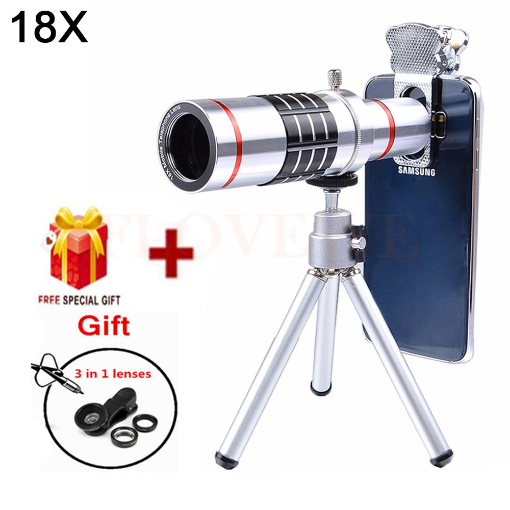 2017 Phone Lens Kit 18X Telephoto Zoom Lentes Telescope Fisheye Wide Angle Macro lentes For iPhone 5s 6 6s 7 8 Plus Smartphone