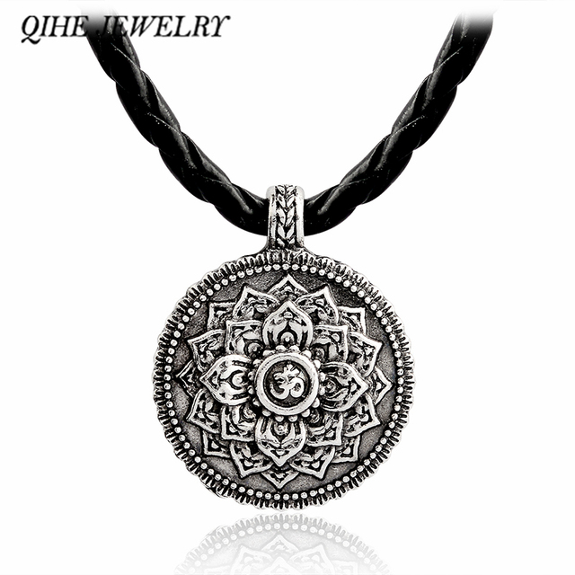 US $1 61 28% OFF QIHE JEWELRY Ancient silver lotus flower necklace Yoga  inspired meaningful jewelry Lotus jewelry Zen jewelry Gift for her -in  Pendant