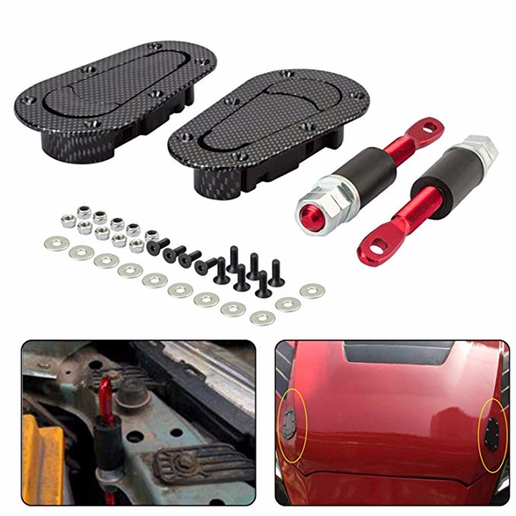 DIY Auto Suv Chrome Plus Flush Hood Latch Pin Racing Engine Lock Bonnet Lanyards