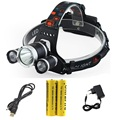 RJ-5000 3T6 USB Headlight 3xCREE XM-L T6 5000 Lumen 4 Mode Camping LED Bicycle Headlamp Light + 18650 Battery + USB & AC Charger