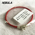 1:1 With Logo Double Braided Leather Bracelet Red Black Blue 925 Sterling Silver Clasp Clip Fits Charm Bracelet Women Jewelry