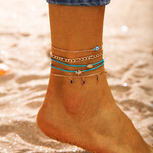 Bohemian Shell Ankle Layering Pendant Anklet Beaded Foot Jewelry Summer Beach Anklets On Foot Ankle Bracelets For Women Leg Chai(China)