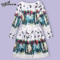 New Girls Brand Dress Children Cute Cartoon Floral Jacquard Butterfly Print Dresses Kids Teenage Princess Casual Party Costumes