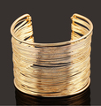 2015 New!  Women Fashion Jewelry High-quality Gold and Silver Multi-layer Wide Wire Opening Bracelets & Bangles of FB26
