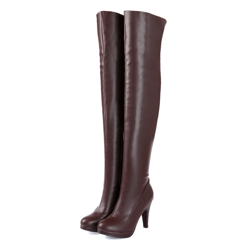 Sales Hot Fashion Sexy Black Brown Women Over The Thigh Knee High Boots Ladies  High Heels Shoes A580B Plus Big size 4 12 47 brand new hot sales women nude ankle boots red black buckle ladies riding spike shoes high heels emb08 plus big size 32 45 11