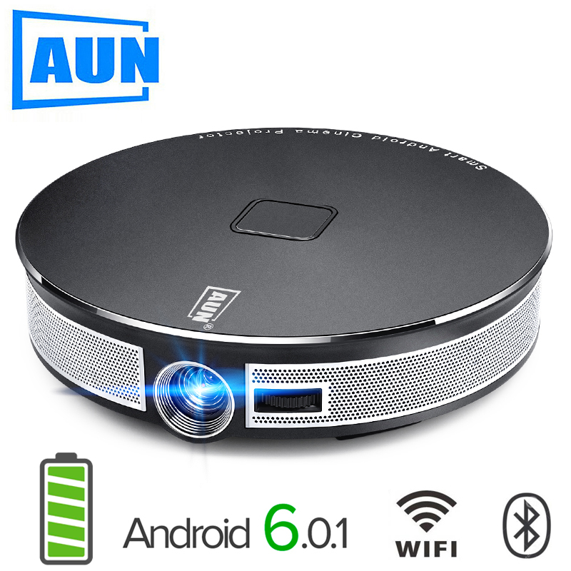 AUN 300 pouce Projecteur, 2g + 16g, 12000 mah Batterie, 1280x720 Résolution, d8S Android WIFI. Portable 3D LED MINI Projecteur. 1080 p, 4 k