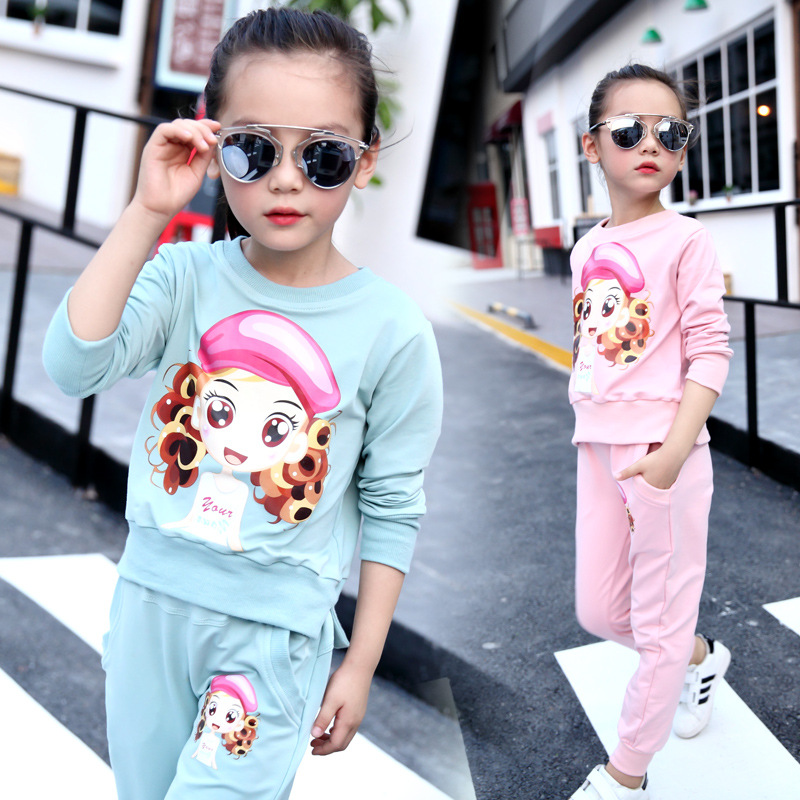 Child New Suit Girls Korean Beauty Set Printing Cotton Two Piece Set Girl Long Sleeved Pullover Set