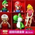 Tamaño grande 23 cm Super Mario Collection figura con la caja Mario Yoshi Luigi Koopa Bowser sapo figura de acción de juguete muñecas del PVC