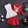 2016 Mulheres camisa + tops + Shorts Define Primavera Estilo Lantejoulas Veados T-shirt + Calças 3 peças Conjuntos mulher Encabeça Bermudas Calça Ternos