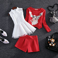 2016 Women shirt+tops+Shorts Sets Spring Style Sequined Deer T-shirts+Pants 3 pieces Sets Woman Tops Pant Shorts Suits