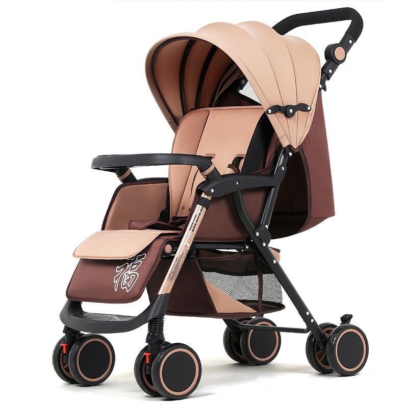 Baby Stroller Can Sit Reclining Lightweight Portable Folding Four wheel Shock Absorber Newborn Baby Carriage Travel Pram 0 3Y