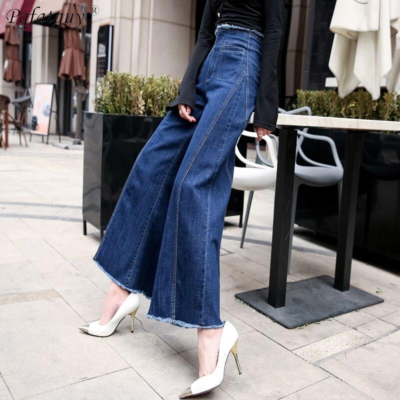 Cierre Alta Pierna De Dama Jeans Ancha Azul Pantalones Las 2019 Cremallera Arrancó Cuero Lavado Cintura Casuales Borla Denim Denim Mujeres vFwx4PxpYq