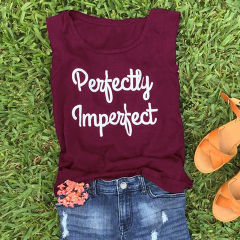 Women   Tank     Tops   Summer Sleeveless   tops   tee Perfectly Imperfect Letter Print O-Neck   Tank   Casual Femme   Tank   Ladies   Tops   Tee