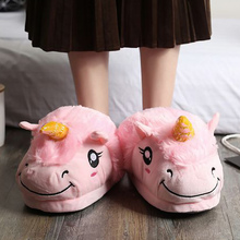 Women indoor slippers 2017 fashion unicorn clioth down solid white slipper ladies shoes plush lovely cheap fur