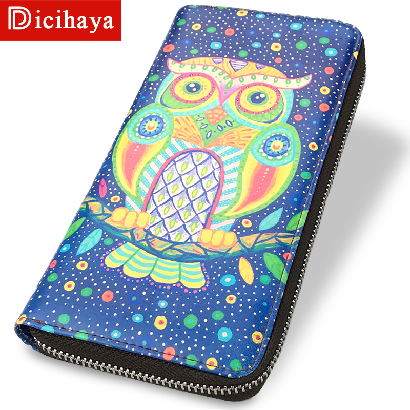 DICIHAYA Brand Cute Owl Animal Printing Leather Wallets Zipper Long Women Wallet Ladies Clutch Bags Purses Card Holders Coin Bag