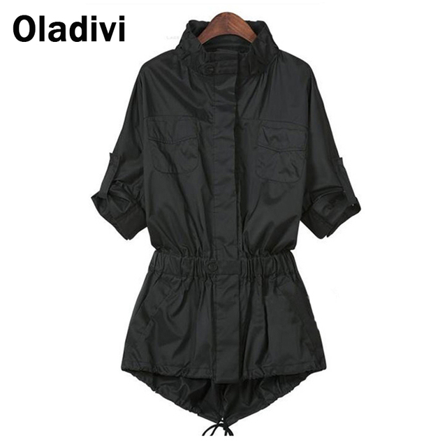 XL 4XL Plus Size Clothing 2016 Autumn Fashion Women Trench Coat Lapel Sleeve Slim Waist Female Solid Outerwear Casual Overcoat