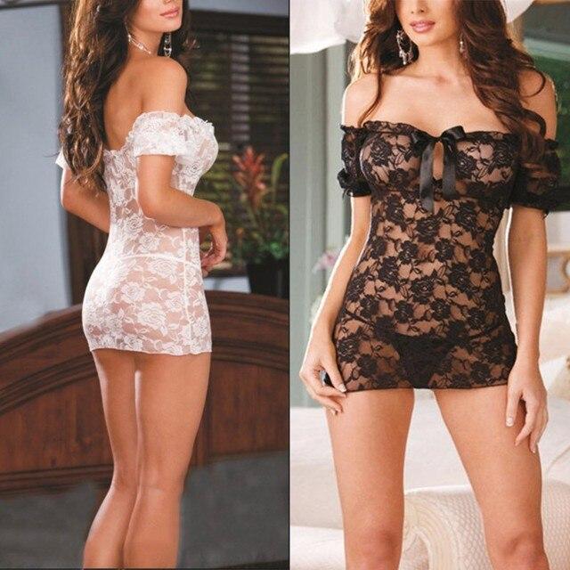 651bf399f6 Sexy Lingerie Solid Women Underwear Tracksuit Lace Dress Underwear Babydoll  Sleepwear G-string Nightwear YO