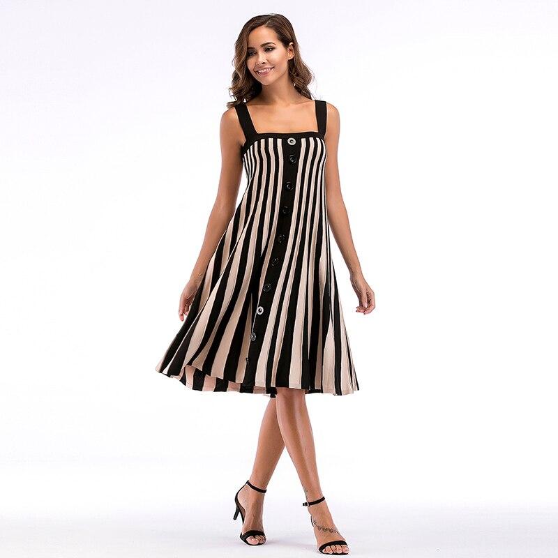 Hot Striped Button Sexy Casual Summer Jurken Strap Dress Women Sundress Vestidos Elegant Daily Dess Female
