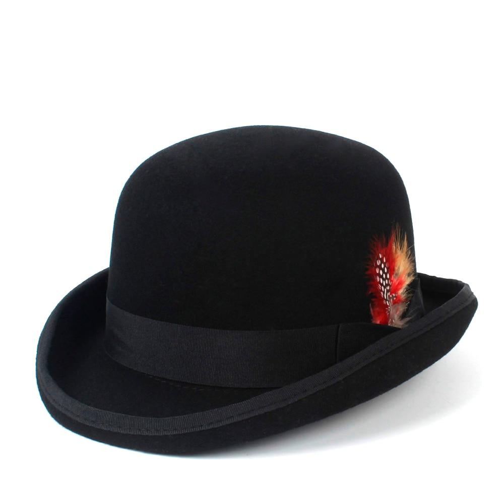Fashion Wool Women s Men s Black Felt Bowler Hat Gentleman Crushable Dress  Tuxedo Derby Costume Steampunk 4Size S M X XXL 5bd7f4ba1de