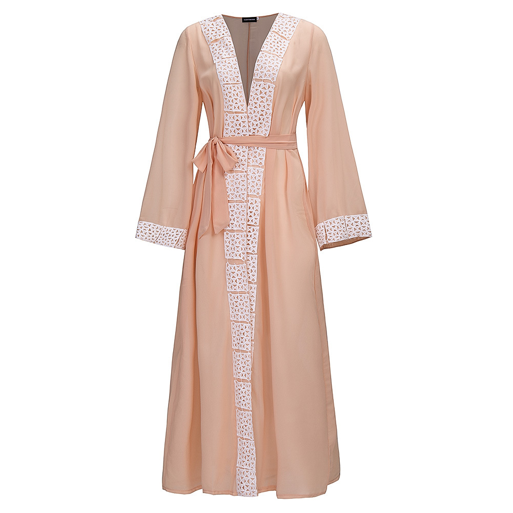 Muslim Women Long Sleeve Tunic Dress Maxi Abaya Islamic Women Vintage Dress Clothing Robe Kaftan Caftan Moroccan Lace