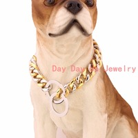 15mm New Arrive Strong 316L Stainless Steel Silver Gold Tone Pet Supplies Curb Cuban NK Chain