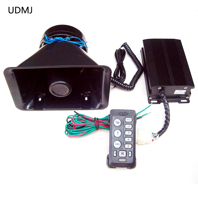 UDMJ 12 v de voiture de police sirène 200 w esv-6203 filaire alarme système de sécurité corne haut-parleur mégaphone flash lumière pour voiture