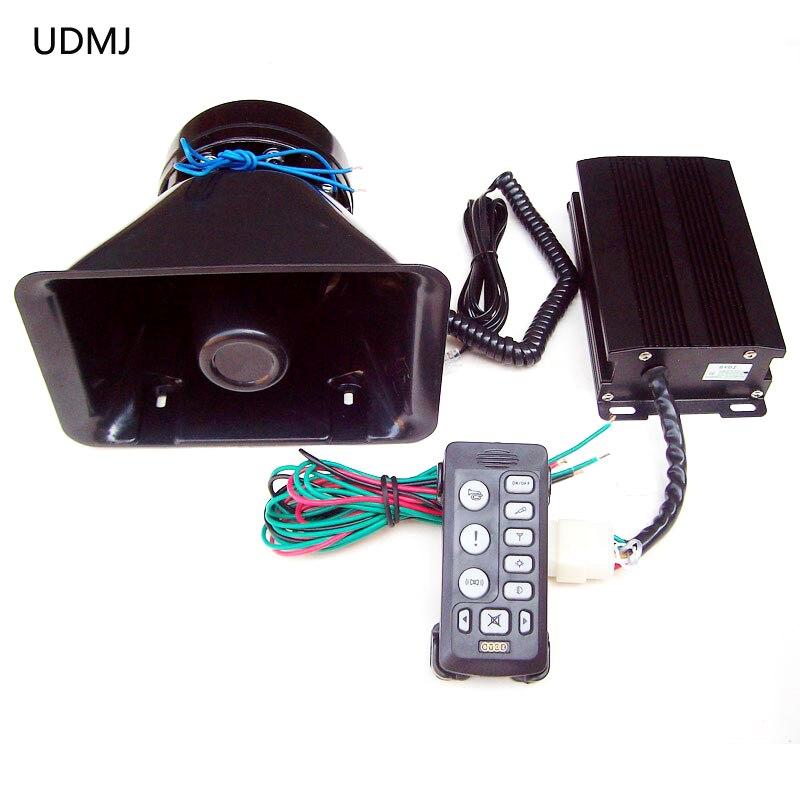 UDMJ 12v car siren police 200w esv 6203 wired alarm security system horn speaker megaphone flash light for car