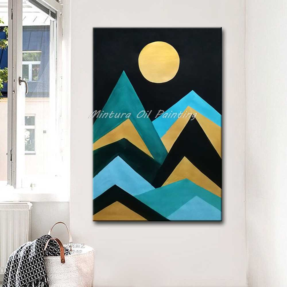 Mintura 100% Handmade Modern Abstract Oil Painting Canva Art Abstract Picture of Mountains and Sunset Home Decoration  No Framed