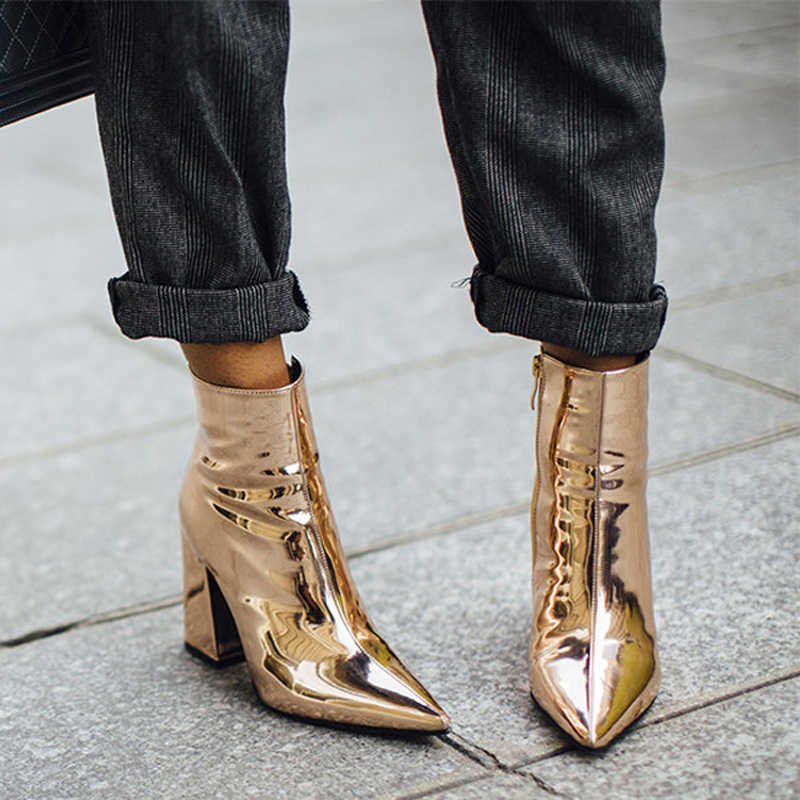 HZXINLIVE Sliver Gold Women Ankle Boots Pointed Toe Chunky High Heel Boots  Mirror Metallic Women Pumps 82afdbea6bfe