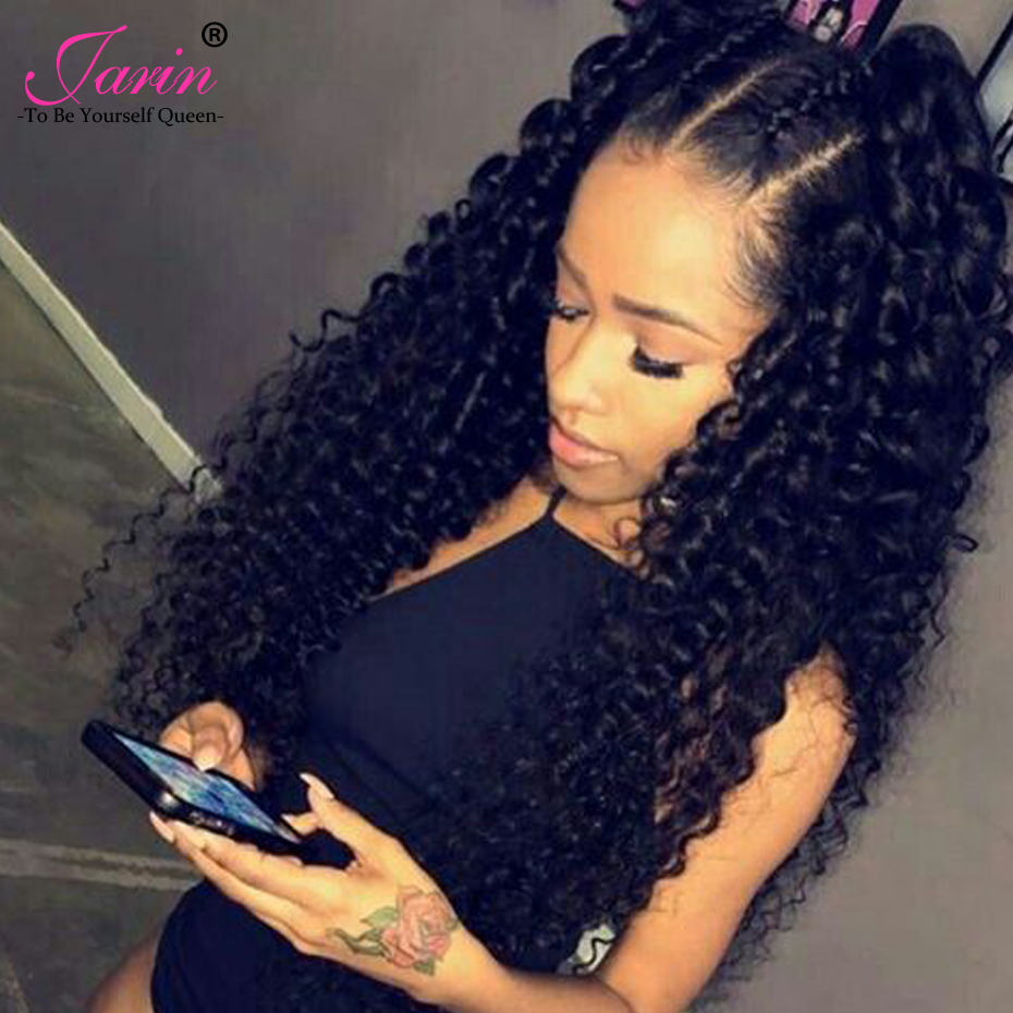 Peruvian Kinky Curly Hair 13x4 Lace Frontal Closure With Bundles Jarin Remy Human Hair 3 Bundles With Lace Frontal Closure-in 3/4 Bundles with Closure from Hair Extensions & Wigs